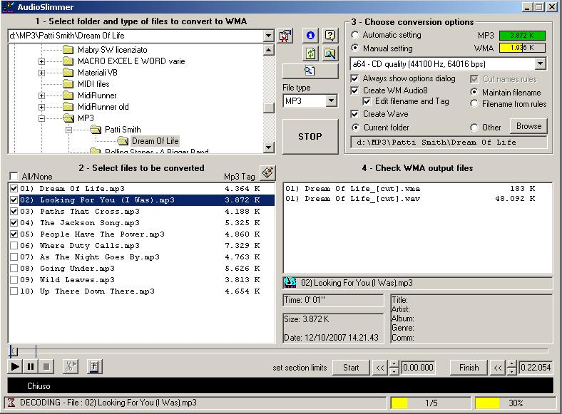 Converts MP3 and WAV to Windows Media Audio 8